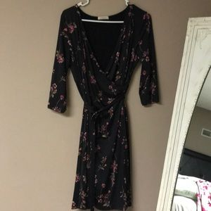 Gilli black floral wrap dress